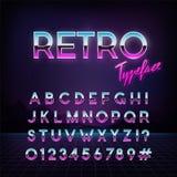 Futuristic retro typeface. 80s style. Vector alphabet.  Template for your design Royalty Free Stock Photos