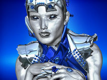 Metal Thoughts. A futuristic robot attired in blue and silver metallic armor contemplates about technology Stock Photo
