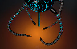 Futuristic robot dron with tentacles. Royalty Free Stock Photos