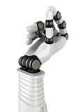 Futuristic Robot Hand Holding Blank Object. 3d Render Illustration Royalty Free Stock Photography