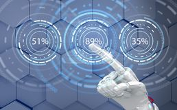 Futuristic robot hand pointing on loading circle ring. 3d rendering. Futuristic robot hand pointing on loading circle ring. Display of waiting time load. Over Stock Image
