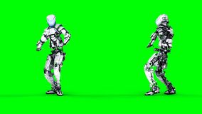 Futuristic robot isolate on green screen. Realistic 3d render. Stock Photography
