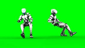Futuristic robot isolate on green screen. Realistic 3d render. Royalty Free Stock Photography