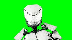 Futuristic robot isolate on green screen. Realistic 3d render. Vector Illustration