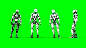 Futuristic robot isolate on green screen. Realistic 3d render. Futuristic robot isolate on green screen. Realistic 3d render Stock Photos