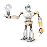 Futuristic Robot with Light Bulb. 3d Render Illustration Stock Image