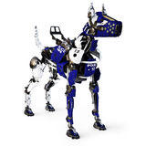 Futuristic robot mechanical cyborg police dog on a white background. 3d rendering Stock Images