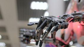 Moving robot hand. Futuristic robot moving fingers like pianist at technology exhibition - close up shot of robot hand. Future, science and robotic concept stock video footage