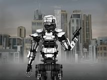Futuristic robot soldier with city background. Stock Photos