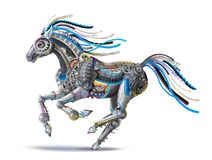Free Futuristic Robot Steel Horse Runs A Gallop Royalty Free Stock Photography - 159688717