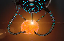 Futuristic robot with tentacles and human brain . Medical concept anatomical future. HUD background Royalty Free Stock Photography
