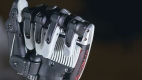 Futuristic robotic cyborg arm in action. Real robotic prosthesis. stock video footage