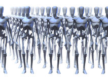 Futuristic Robots. Identical futuristic robots standing in different rows Royalty Free Stock Photo