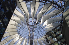Futuristic roof, Potsdamer Platz, Berlin, Germany. Futuristic roof at Sony Center, Potsdamer Platz, Berlin, Germany royalty free stock photos