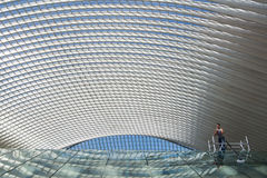 Futuristic roof of the rail station Guillemins in Liège. Futuristic roof construction railway station Guillemins in Liège, Belgium, designed by world renown Royalty Free Stock Photos