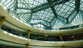 Futuristic roof of shopping mall in Singapore. Singapore - Jun 13, 2017. Futuristic roof of Marina Shopping Mall in Singapore. Since independence in 1965, the Stock Image