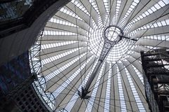 Futuristic roof at Sony Center in Berlin, Germany. Stock Photos