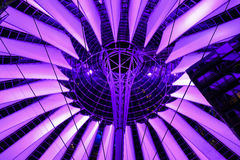 Futuristic roof of the Sony Center. Berlin, Germany - 29.11.2016. Futuristic roof of the Sony Center in the Potsdamer Platz illuminated at night - Berlin Royalty Free Stock Images