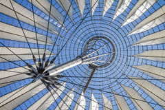 Futuristic roof of the Sony Center in Potsdamer Platz in Berlin.  Royalty Free Stock Images