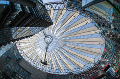 Futuristic roof at Sony Center, Potsdamer Platz, Berlin, Germany. Berlin, Germany - April 17, 2013: Potsdamer platz, roof dome of Sony Center in Berlin Royalty Free Stock Images