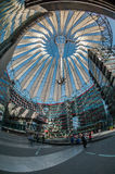 Futuristic roof at Sony Center, Potsdamer Platz, Berlin, Germany. Berlin, Germany - April 17, 2013: Potsdamer platz, roof dome of Sony Center in Berlin Stock Photography