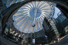 Futuristic roof at Sony Center, Potsdamer Platz, Berlin, Germany. Berlin, Germany - April 17, 2013: Potsdamer platz, roof dome of Sony Center in Berlin Royalty Free Stock Image