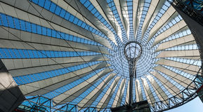 Futuristic roof at Sony Center, Potsdamer Platz, Berlin, Germany. Berlin, Germany - April 17, 2013: Potsdamer platz, roof dome of Sony Center in Berlin Stock Image