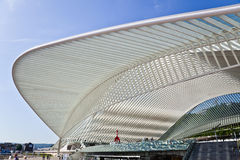 Futuristic roof of the station Guillemins by Calatrava Stock Photography