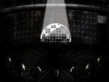Futuristic room. Futuristic style room with silver sphere and light beam Stock Photos