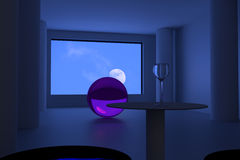 Futuristic room with an empty wine glass looking at the moon Stock Images