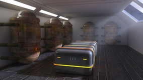 Futuristic room and exo capsules Stock Photography