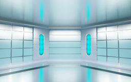 Futuristic room. Futuristic hall with metallic walls and blue lights. 3d illustration Stock Photo