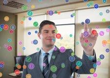 Futuristic room interface color dots in the office. Businessman. Digital composite of futuristic room interface color dots in the office. Businessman stock photos