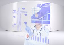 futuristic room interface. happy medical with his interface stock photography