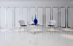 Futuristic room with minimalist chairs and tables. 3D interior background with futuristic glassware on tables in between minimalist chairs on glossy floor. 3d Royalty Free Stock Images