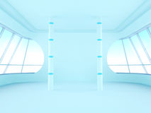 Futuristic room with oval windows. Futuristic light blue room with two large oval windows, and columns Royalty Free Stock Photography