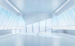 Futuristic room with oval windows Royalty Free Stock Images