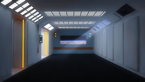 Futuristic room and planet Stock Image