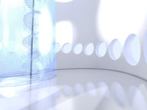 Futuristic round indoor with glass spiral staircase Royalty Free Stock Images