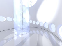Futuristic round indoor with glass spiral staircase Stock Photo
