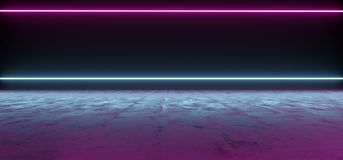 Futuristic Sci-Fi Abstract Blue And Purple Neon Light Shapes On. Black Background And Reflective Concrete With Empty Space For Text 3D Rendering Illustration Vector Illustration