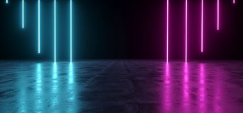 Futuristic Sci-Fi Abstract Blue And Purple Neon Light Shapes On. Black Background And Reflective Concrete With Empty Space For Text 3D Rendering Illustration Stock Illustration