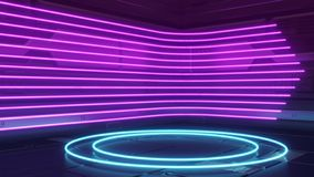 Futuristic Sci-Fi Abstract Blue And Purple Neon Light Shapes On Reflective METAL SPACESHIP WALL. Empty space for the installation royalty free illustration