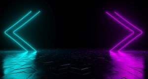 Futuristic Sci-Fi Arrow Shaped Neon Tube Vibrant Purple And Blue. Glowing Lights On Reflective Tilted Rough Concrete Surface In Dark Room Empty Space 3D stock illustration