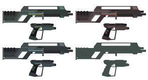 Futuristic Sci-Fi Assault Beam Rifle and Pistol.  Royalty Free Stock Photo