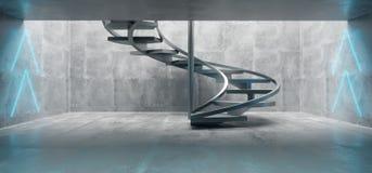 Futuristic Sci Fi Big Concrete Underground Tunnel With Glowing N royalty free illustration