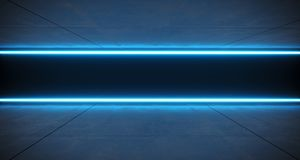 Futuristic Sci Fi Blue Neon Tube Lights Glowing In Concrete Floo. R Room With Refelctions Empty Space 3D Rendering Illustration Stock Illustration