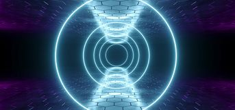 Futuristic Sci-Fi Blue Purple Glowing Neon Tube Circle Shaped Li. Ghts In Dark Room With Hexagon Shaped Floor And Ceiling With Empty Space Wallpaper 3D Rendering royalty free illustration