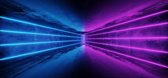 Futuristic Sci-Fi Blue Purple Glowing Neon Tube Line Lights In D. Ark Grunge Concrete Tunnel With Empty Space Wallpaper 3D Rendering Illustration royalty free illustration