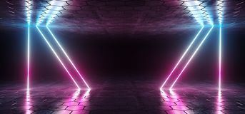 Futuristic Sci-Fi Blue Purple Glowing Neon Tube Lines Lights In. Dark Room With Hexagon Shaped Floor And Ceiling With Empty Space Wallpaper 3D Rendering vector illustration